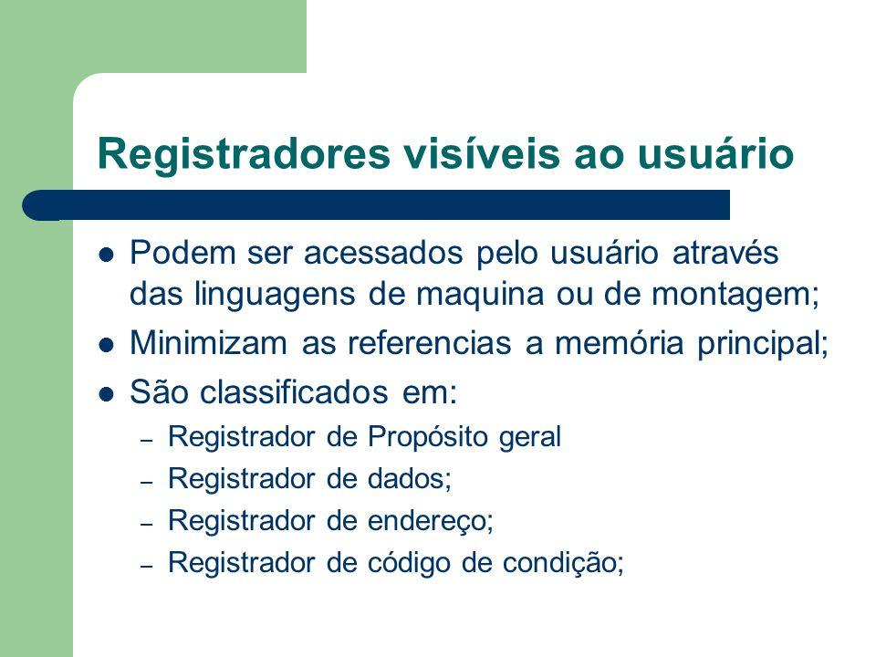 Registradores visíveis ao usuário Podem ser acessados pelo usuário através das linguagens de maquina ou de montagem; Minimizam as referencias a memóri