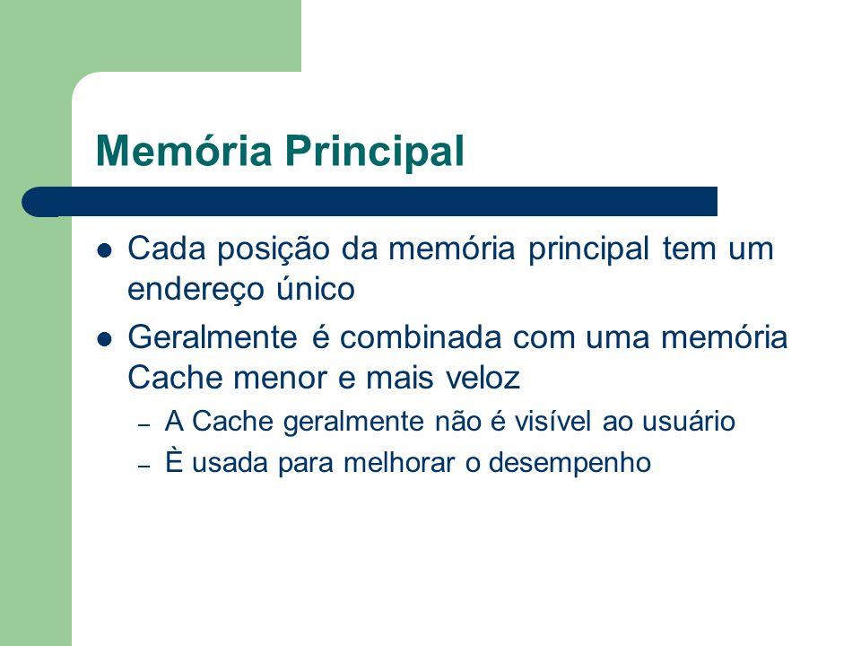 Memória Principal Cada posição da memória principal tem um endereço único Geralmente é combinada com uma memória Cache menor e mais veloz – A Cache ge