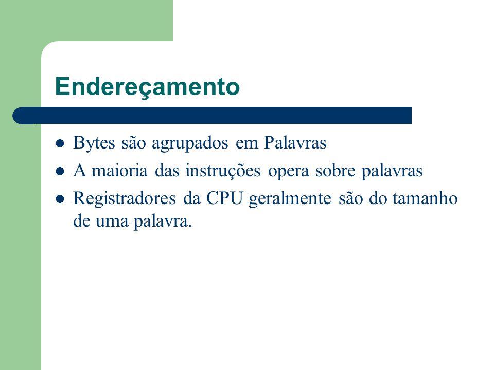 Endereçamento Bytes são agrupados em Palavras A maioria das instruções opera sobre palavras Registradores da CPU geralmente são do tamanho de uma pala