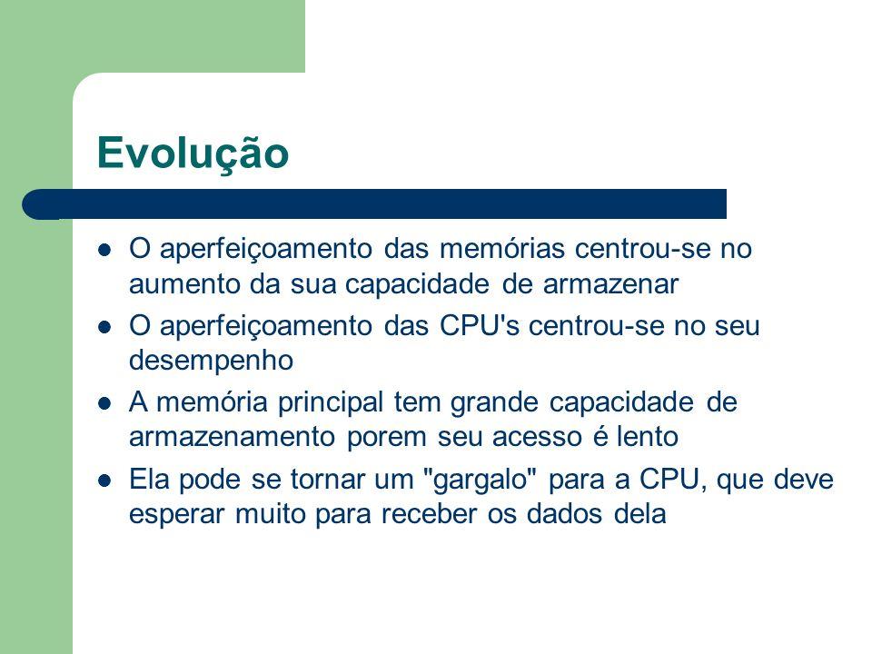 Evolução O aperfeiçoamento das memórias centrou-se no aumento da sua capacidade de armazenar O aperfeiçoamento das CPU's centrou-se no seu desempenho