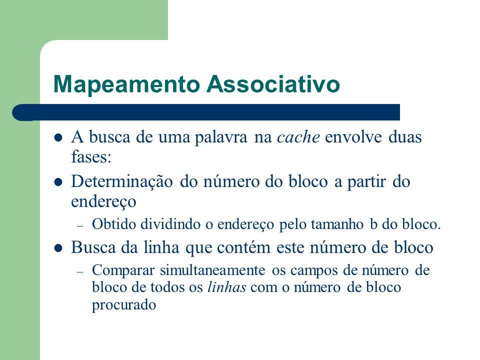 Mapeamento Associativo A busca de uma palavra na cache envolve duas fases: Determinação do número do bloco a partir do endereço – Obtido dividindo o e