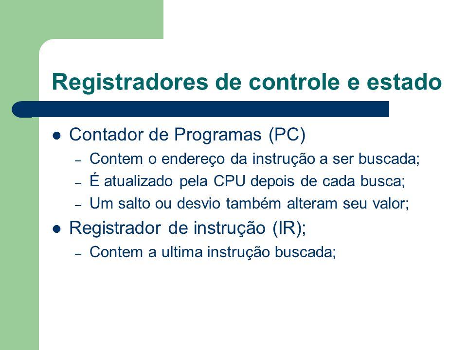Registradores de controle e estado Contador de Programas (PC) – Contem o endereço da instrução a ser buscada; – É atualizado pela CPU depois de cada b