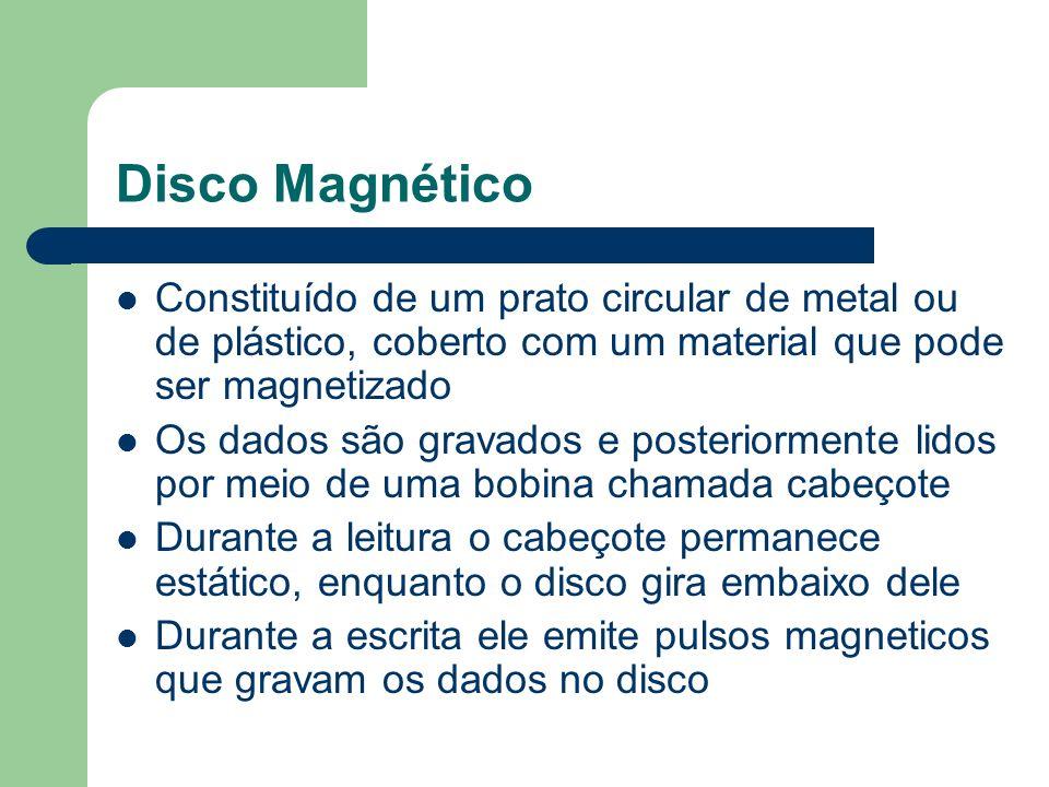 Disco Magnético Constituído de um prato circular de metal ou de plástico, coberto com um material que pode ser magnetizado Os dados são gravados e pos
