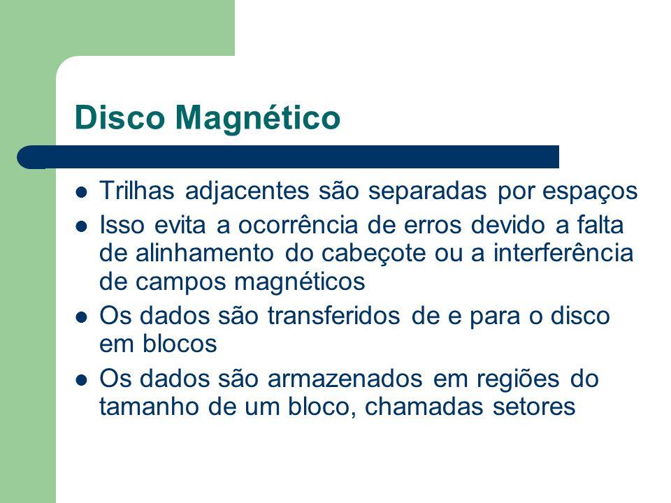 Disco Magnético Trilhas adjacentes são separadas por espaços Isso evita a ocorrência de erros devido a falta de alinhamento do cabeçote ou a interferê