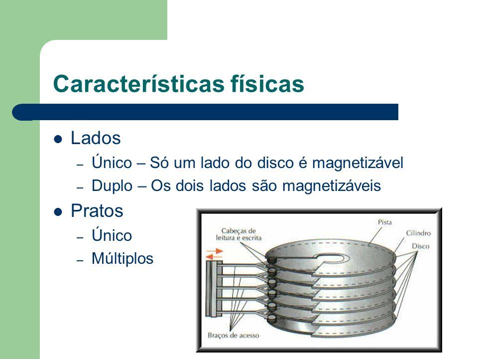 Características físicas Lados – Único – Só um lado do disco é magnetizável – Duplo – Os dois lados são magnetizáveis Pratos – Único – Múltiplos