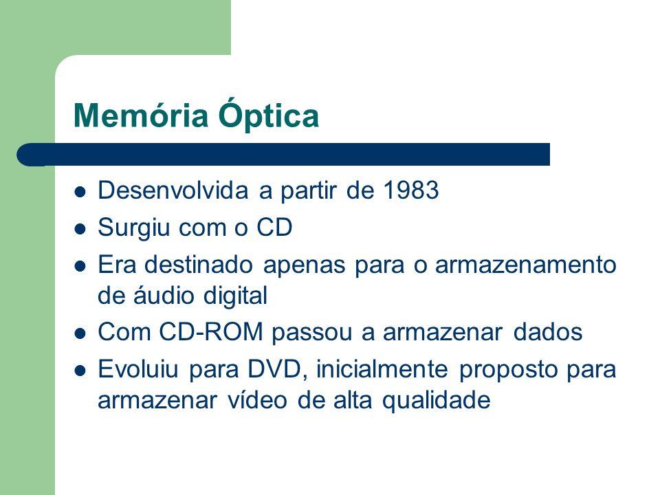 Memória Óptica Desenvolvida a partir de 1983 Surgiu com o CD Era destinado apenas para o armazenamento de áudio digital Com CD-ROM passou a armazenar