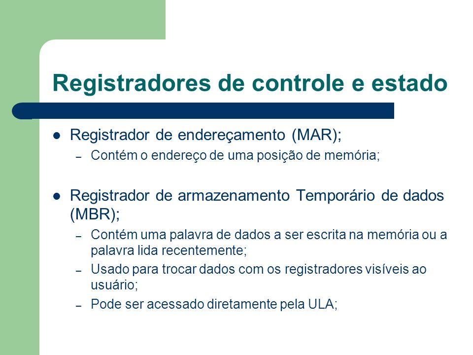 Registradores de controle e estado Registrador de endereçamento (MAR); – Contém o endereço de uma posição de memória; Registrador de armazenamento Tem