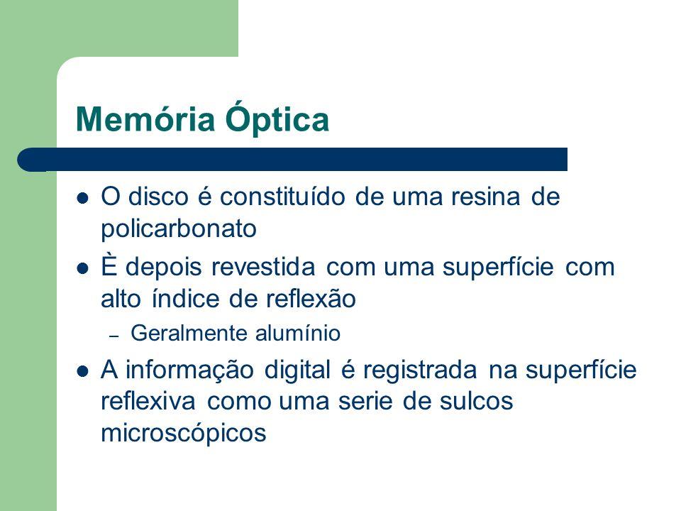 Memória Óptica O disco é constituído de uma resina de policarbonato È depois revestida com uma superfície com alto índice de reflexão – Geralmente alu