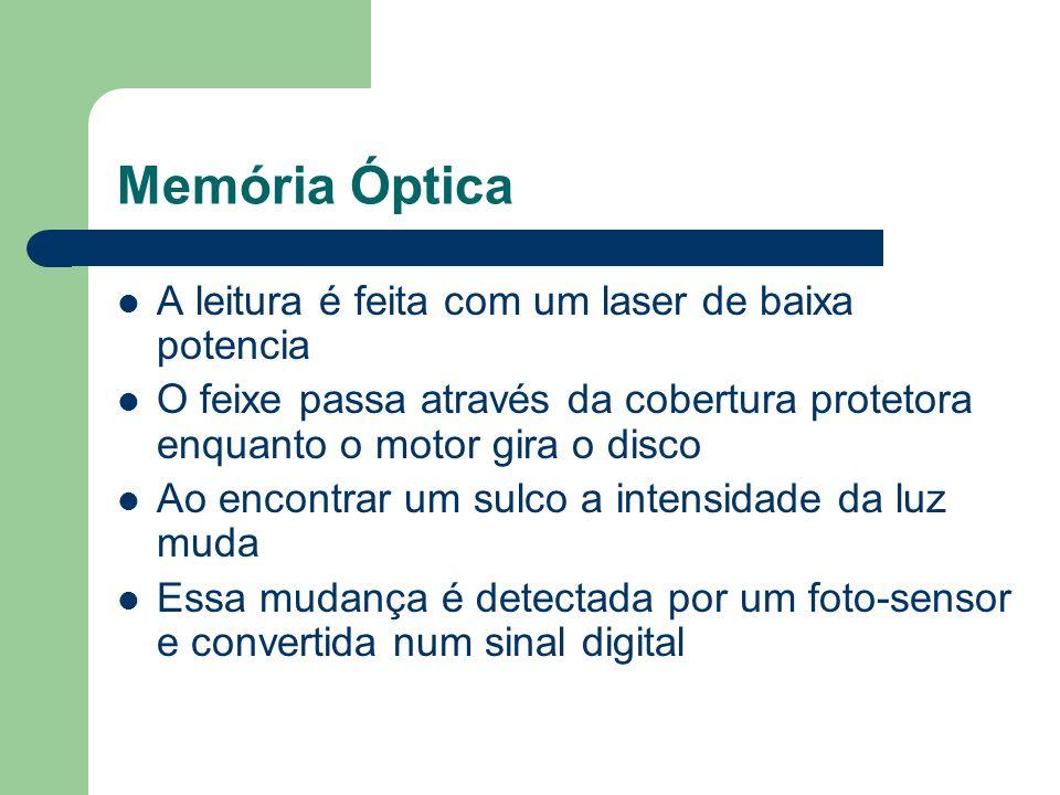 Memória Óptica A leitura é feita com um laser de baixa potencia O feixe passa através da cobertura protetora enquanto o motor gira o disco Ao encontra