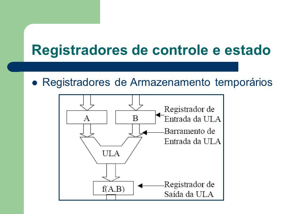 Registradores de controle e estado Registradores de Armazenamento temporários
