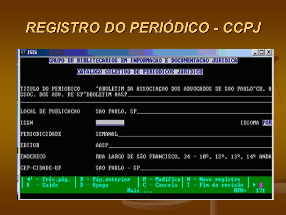 REGISTRO DO PERIÓDICO - CCPJ