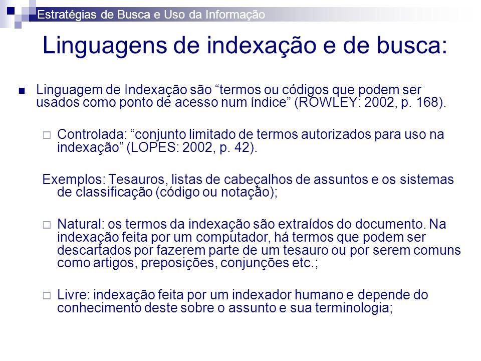 Linguagem de Busca representa os termos usados por um consulente ao especificar uma necessidade de busca (ROWLEY: 2002, 168).