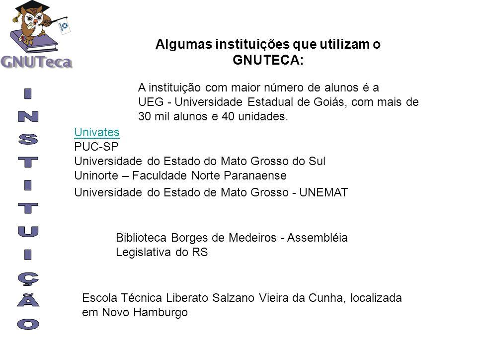 A instituição com maior número de alunos é a UEG - Universidade Estadual de Goiás, com mais de 30 mil alunos e 40 unidades. Univates PUC-SP Universida