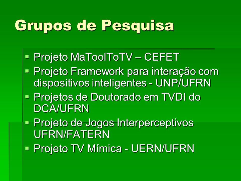 Grupos de Pesquisa Projeto MaToolToTV – CEFET Projeto MaToolToTV – CEFET Projeto Framework para interação com dispositivos inteligentes - UNP/UFRN Pro