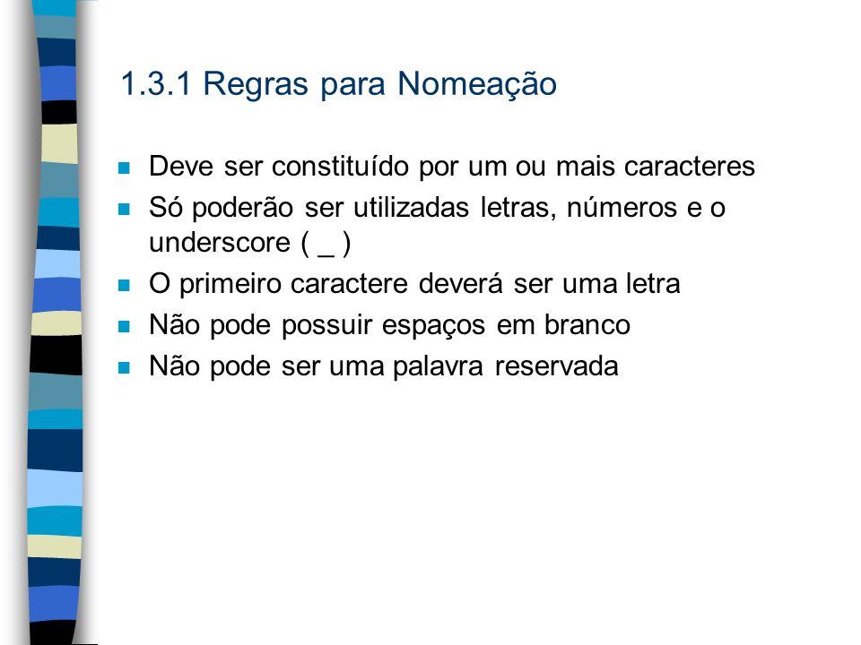1.3.1 Regras para Nomeação n Deve ser constituído por um ou mais caracteres n Só poderão ser utilizadas letras, números e o underscore ( _ ) n O prime