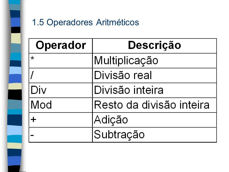 1.5 Operadores Aritméticos