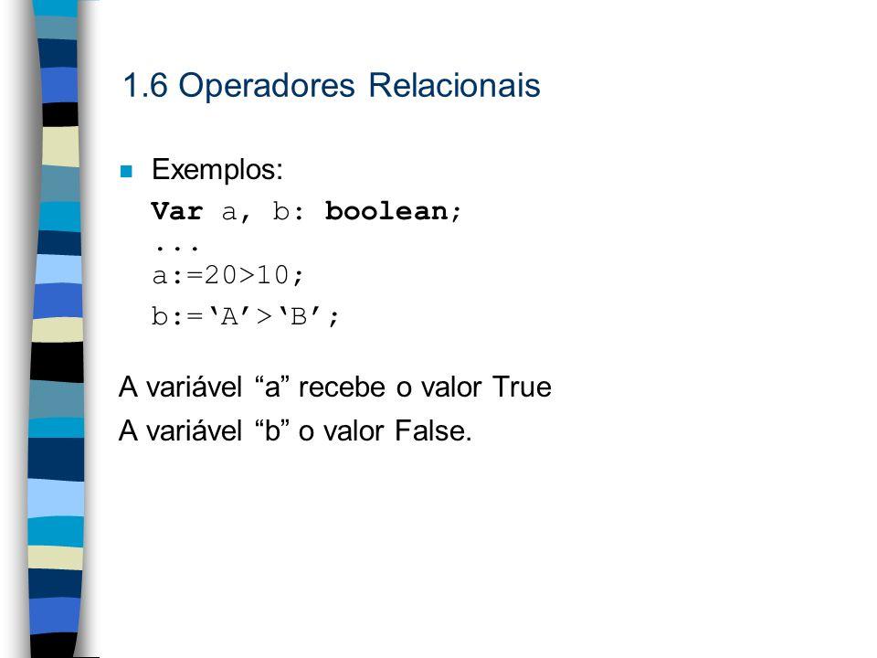 n Exemplos: Var a, b: boolean;... a:=20>10; b:=A>B; A variável a recebe o valor True A variável b o valor False.