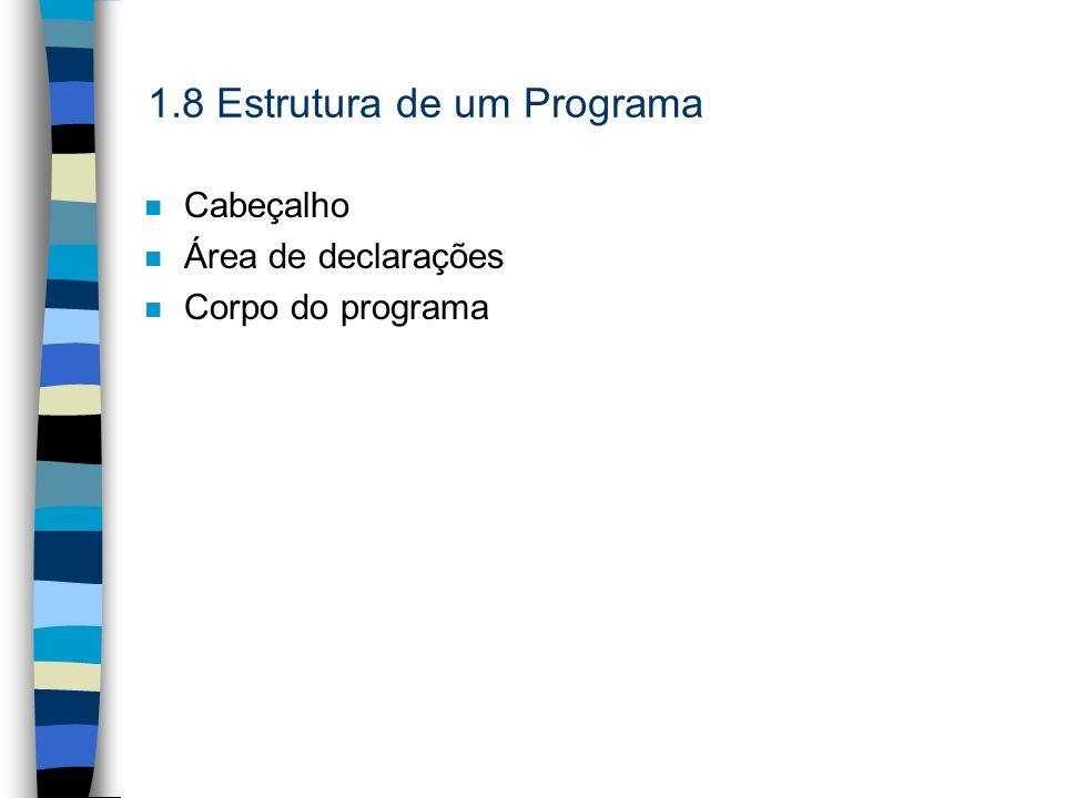 1.8 Estrutura de um Programa n Cabeçalho n Área de declarações n Corpo do programa