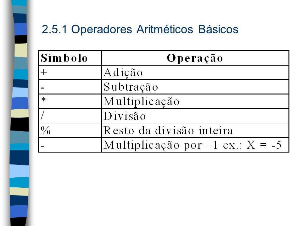 2.5.1 Operadores Aritméticos Básicos