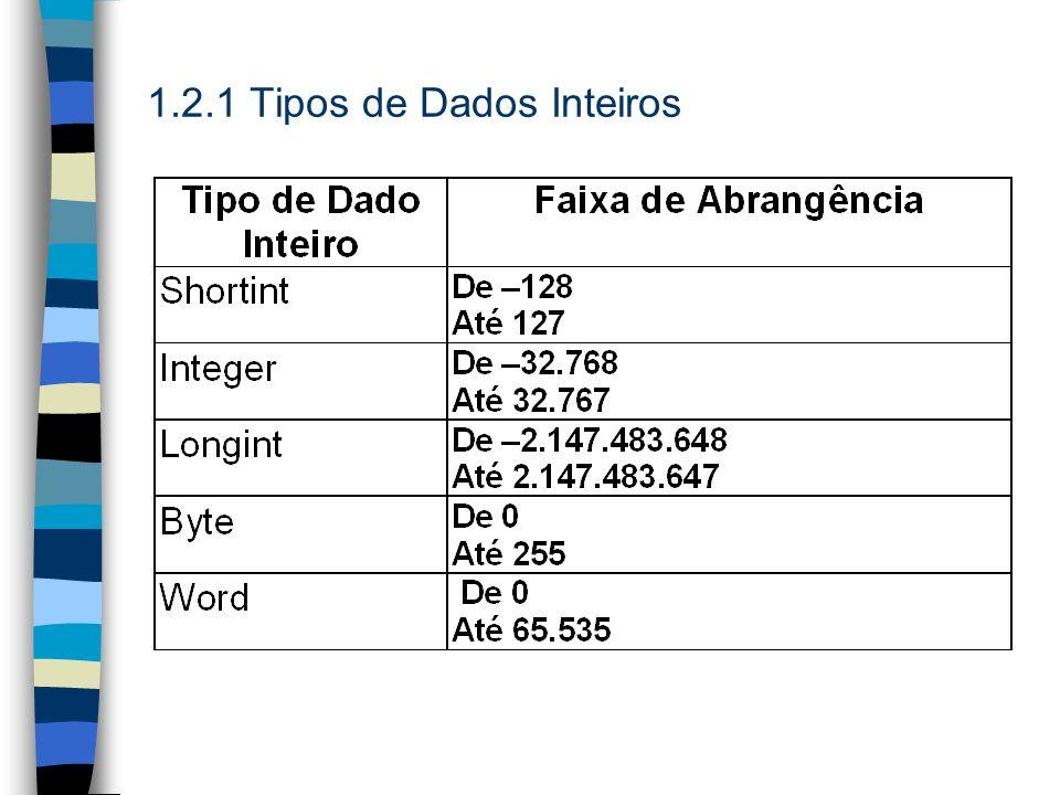 1.2.1 Tipos de Dados Inteiros