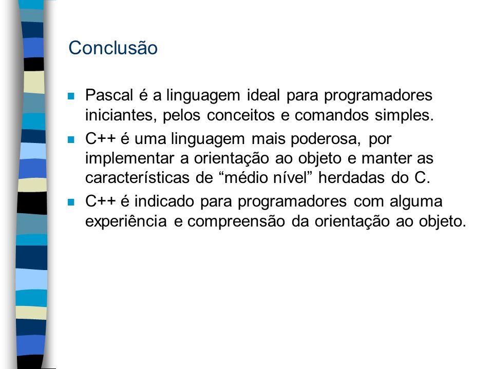 Conclusão n Pascal é a linguagem ideal para programadores iniciantes, pelos conceitos e comandos simples. n C++ é uma linguagem mais poderosa, por imp