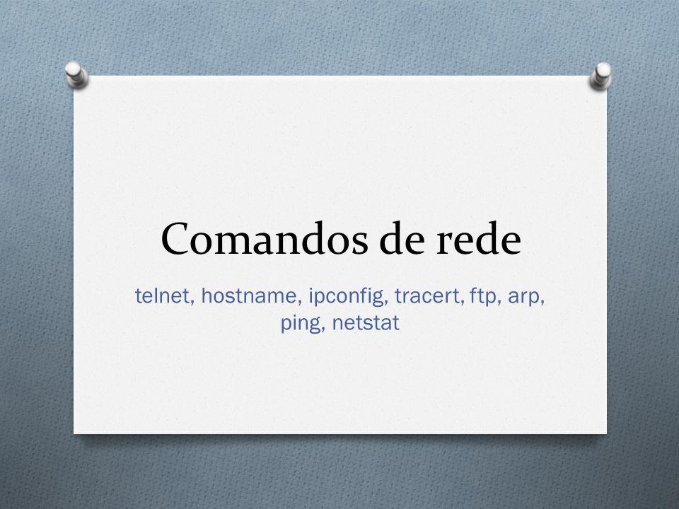Comandos de rede telnet, hostname, ipconfig, tracert, ftp, arp, ping, netstat