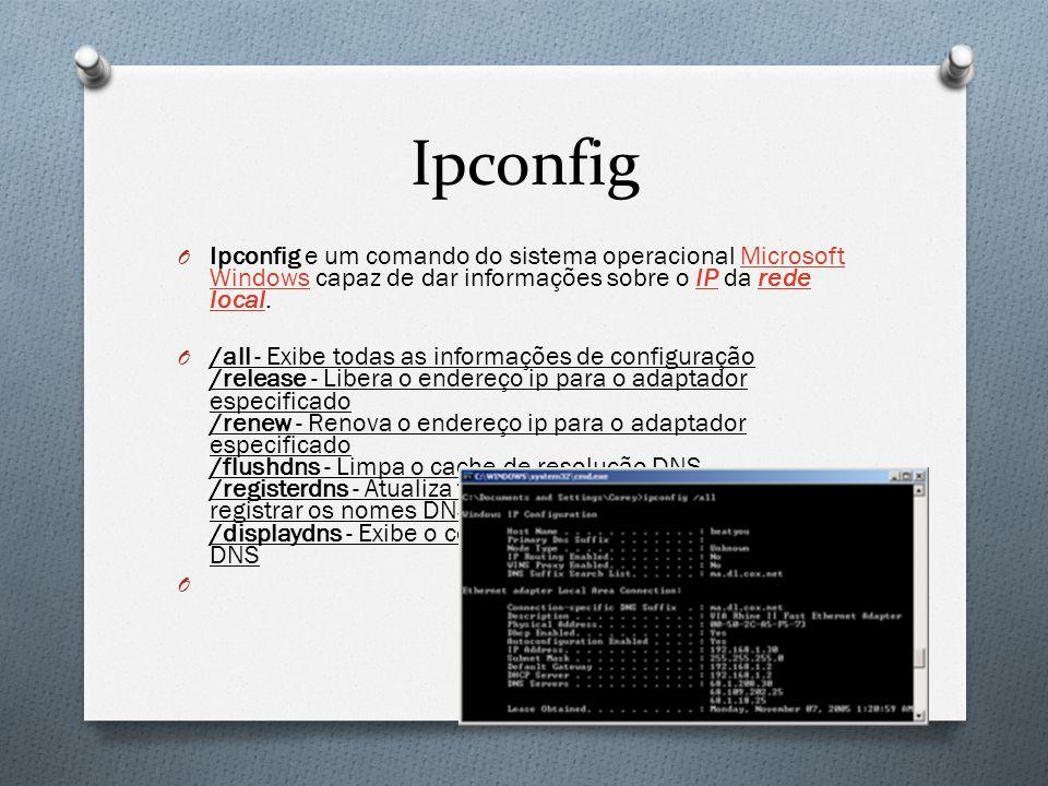 Ipconfig O Ipconfig e um comando do sistema operacional Microsoft Windows capaz de dar informações sobre o IP da rede local.Microsoft WindowsIPrede lo