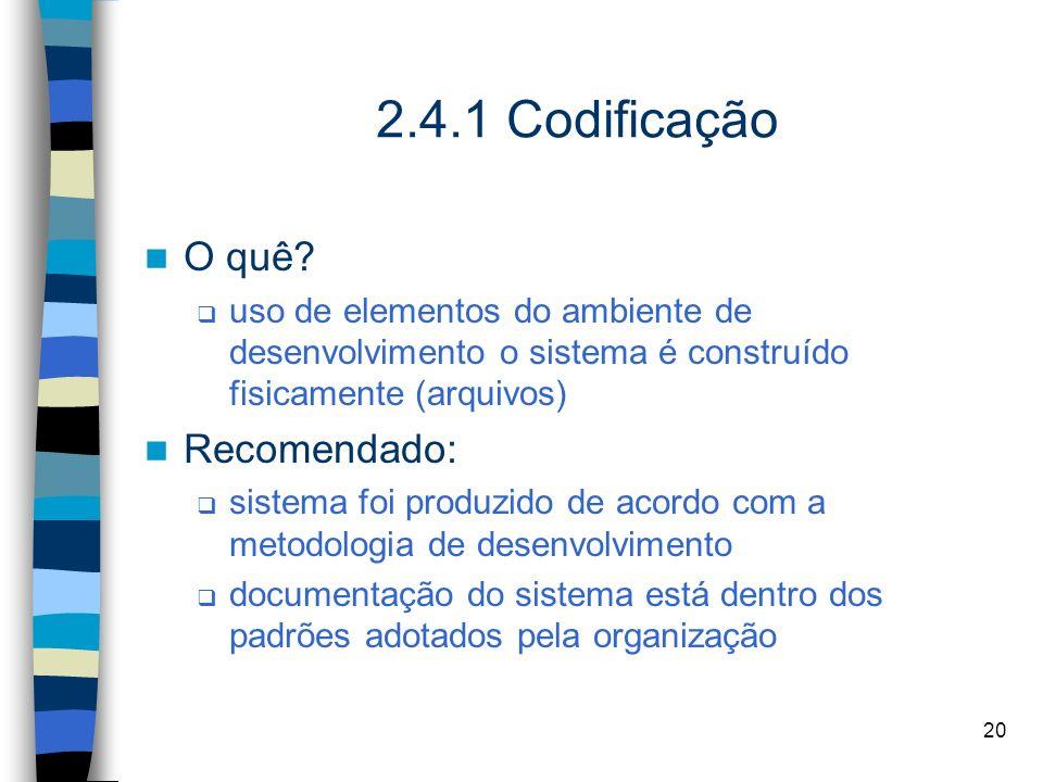20 2.4.1 Codificação O quê? uso de elementos do ambiente de desenvolvimento o sistema é construído fisicamente (arquivos) Recomendado: sistema foi pro