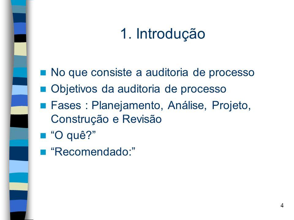 4 1. Introdução No que consiste a auditoria de processo Objetivos da auditoria de processo Fases : Planejamento, Análise, Projeto, Construção e Revisã