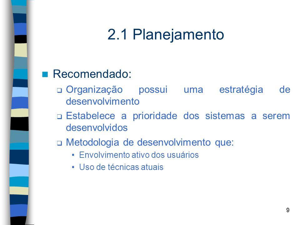 9 2.1 Planejamento Recomendado: Organização possui uma estratégia de desenvolvimento Estabelece a prioridade dos sistemas a serem desenvolvidos Metodo