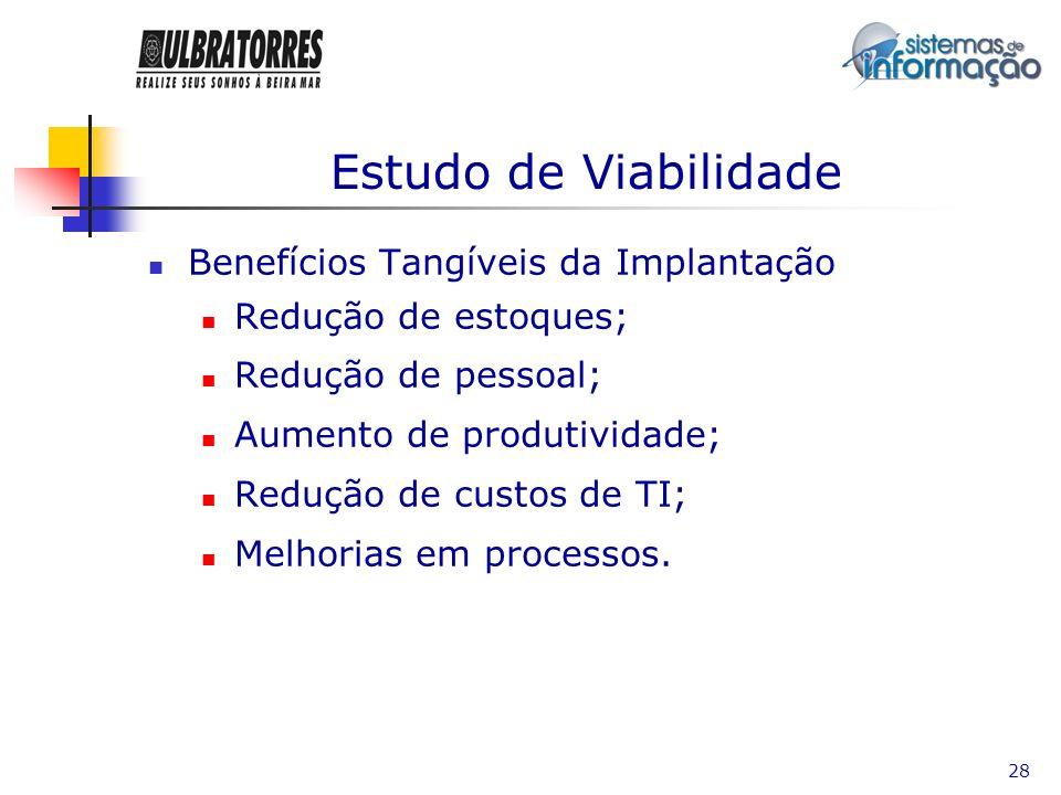 29 Estudo de Viabilidade Benefícios Intangíveis da Implantação Informação / visibilidade Melhorias nos processos de negócios Melhorias no atendimento ao cliente Integração de processos Padronização de processos Flexibilidade