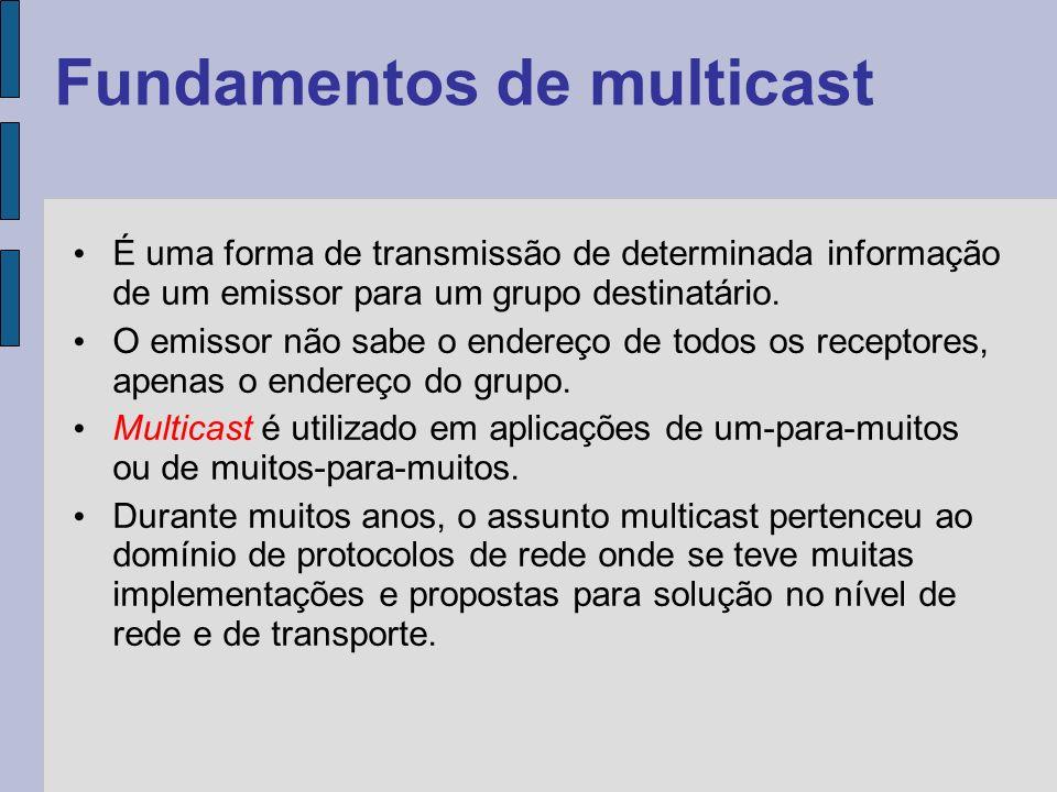 Fundamentos de multicast Com o advento da tecnologia peer-to-peer e, principalmente, do gerenciamento estruturado de sobreposição, várias técnicas de multicasting de nível de aplicação foram apresentadas.