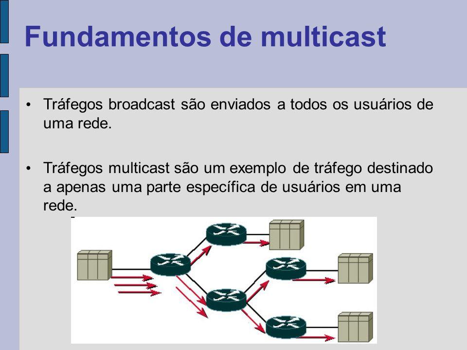 Vantagens do multicast Desempenho Otimizado da Rede - O uso inteligente dos recursos da rede evita replicação desnecessária de fluxos.