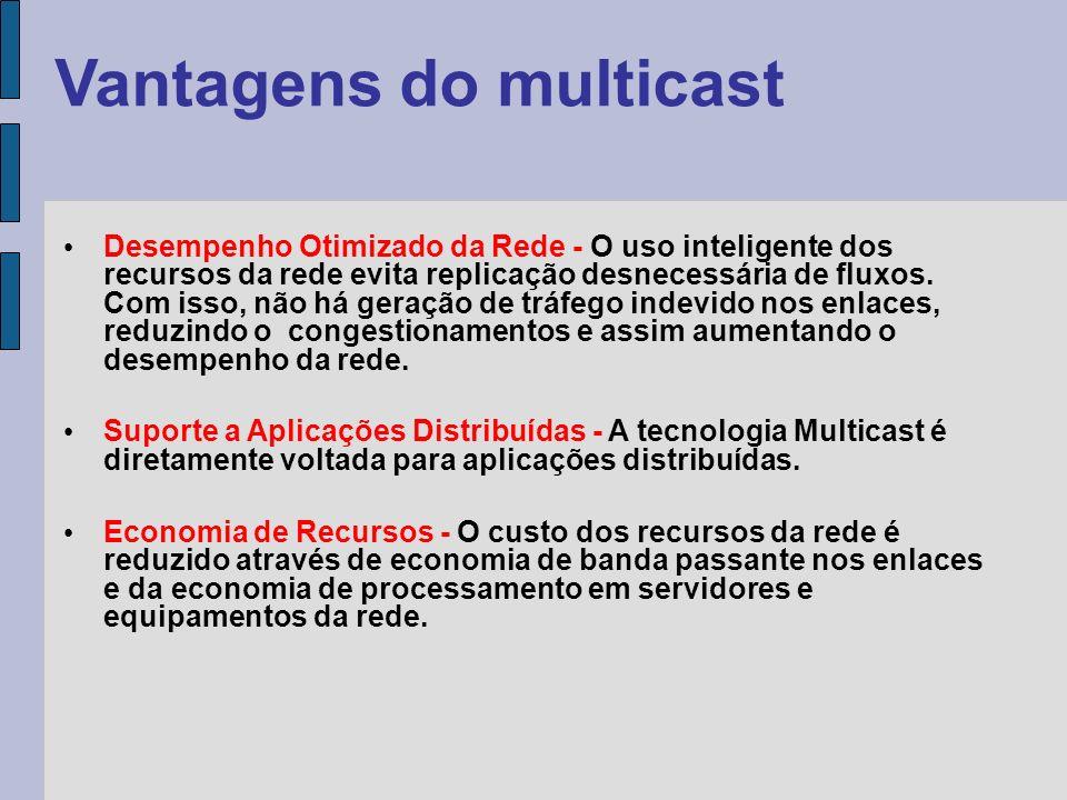 Vantagens do multicast Facilidade de Crescimento em Escala - O uso eficiente da rede e a redução da carga em fontes de tráfego permitem que serviços e aplicações sejam acessíveis por um grande número de participantes.