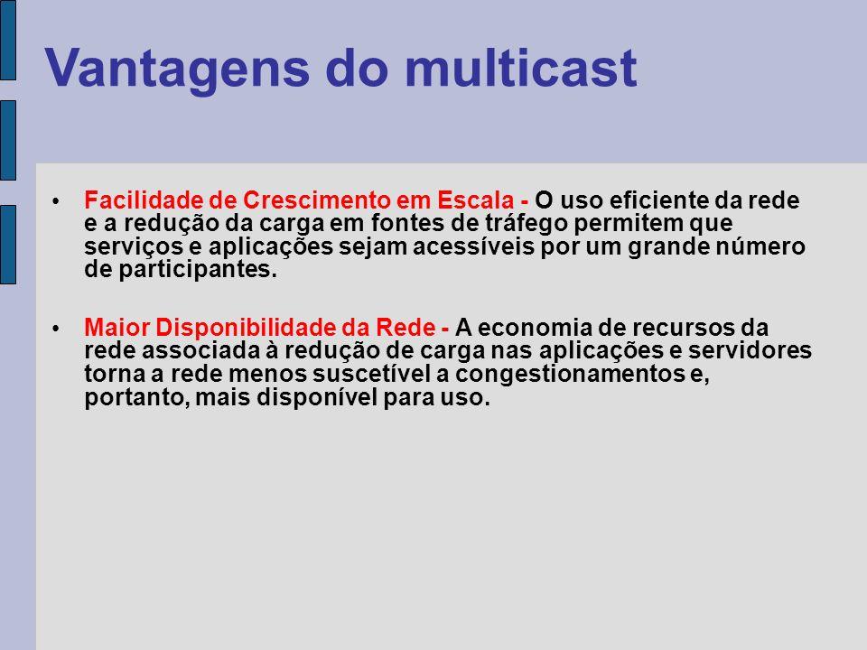 Protocolos e endereçamento O Multicast utiliza protocolo de transporte UDP somente.