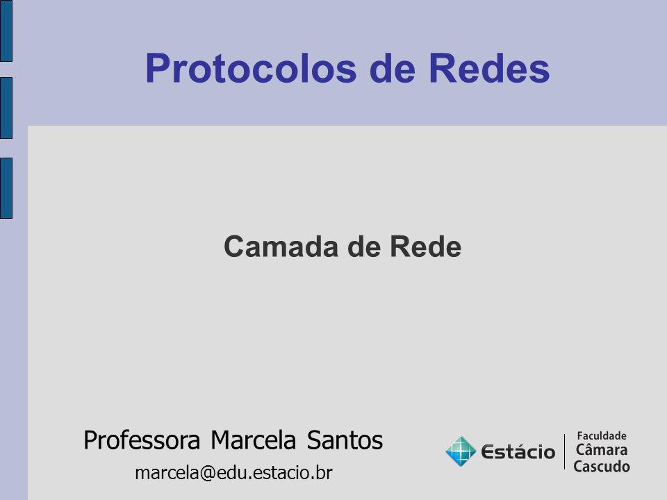 Protocolos de Redes Professora Marcela Santos marcela@edu.estacio.br Camada de Rede