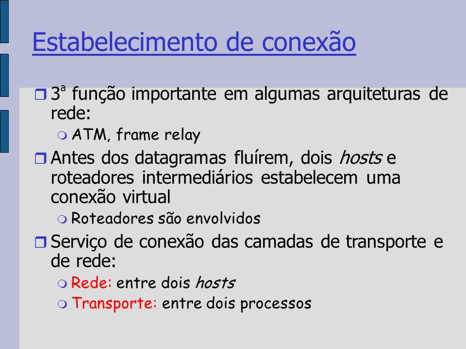 Estabelecimento de conexão 3 ª função importante em algumas arquiteturas de rede: ATM, frame relay Antes dos datagramas fluírem, dois hosts e roteadores intermediários estabelecem uma conexão virtual Roteadores são envolvidos Serviço de conexão das camadas de transporte e de rede: Rede: entre dois hosts Transporte: entre dois processos