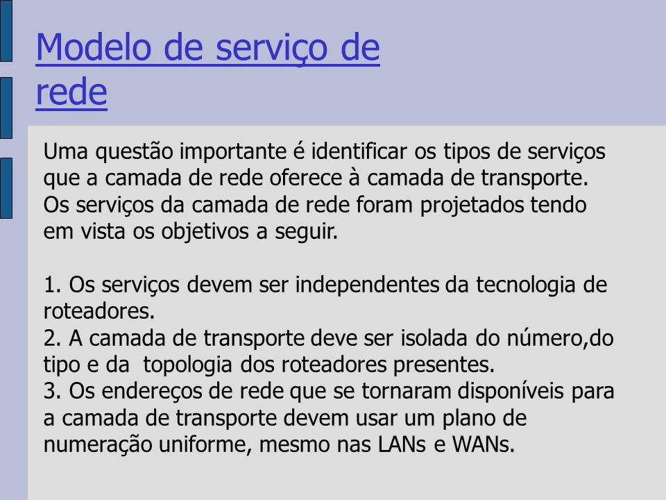 Uma questão importante é identificar os tipos de serviços que a camada de rede oferece à camada de transporte.