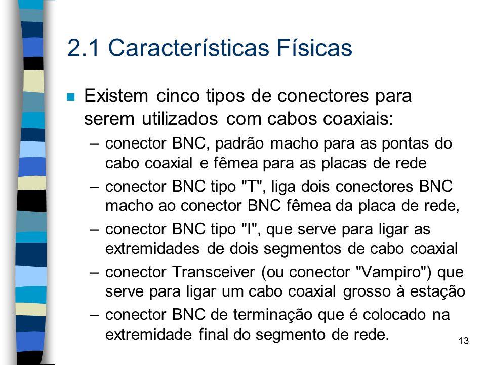 13 2.1 Características Físicas n Existem cinco tipos de conectores para serem utilizados com cabos coaxiais: –conector BNC, padrão macho para as ponta