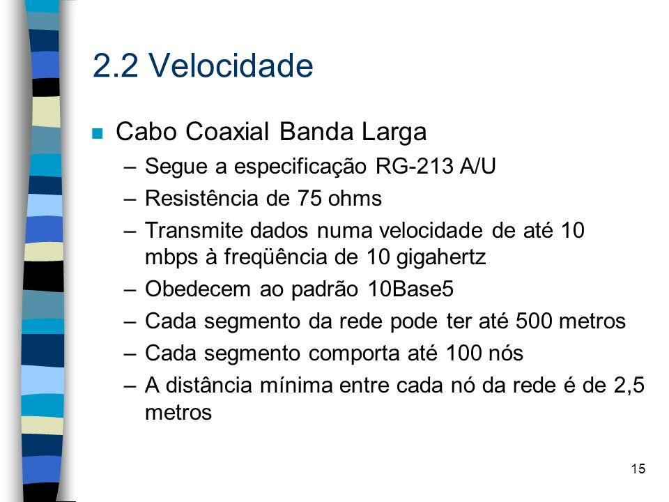 15 2.2 Velocidade n Cabo Coaxial Banda Larga –Segue a especificação RG-213 A/U –Resistência de 75 ohms –Transmite dados numa velocidade de até 10 mbps
