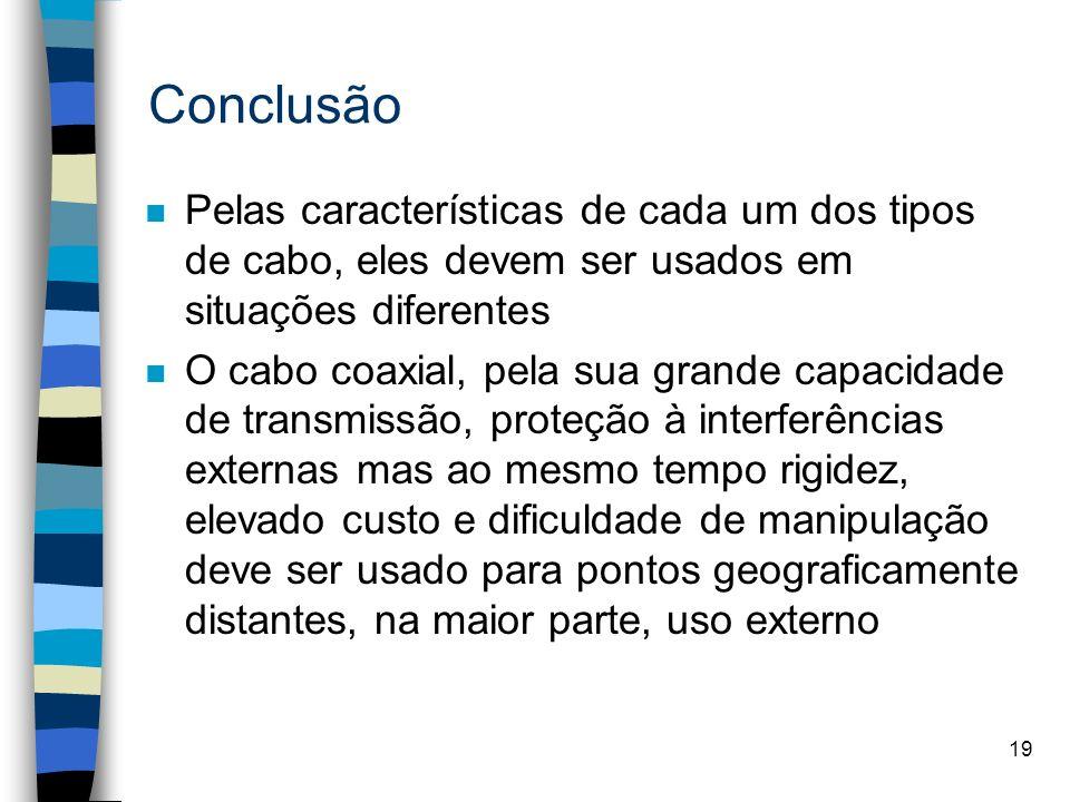 19 Conclusão n Pelas características de cada um dos tipos de cabo, eles devem ser usados em situações diferentes n O cabo coaxial, pela sua grande cap