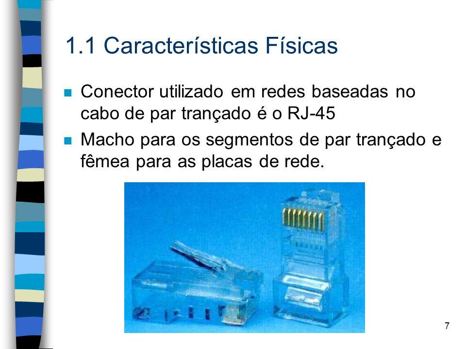 7 1.1 Características Físicas n Conector utilizado em redes baseadas no cabo de par trançado é o RJ-45 n Macho para os segmentos de par trançado e fêm