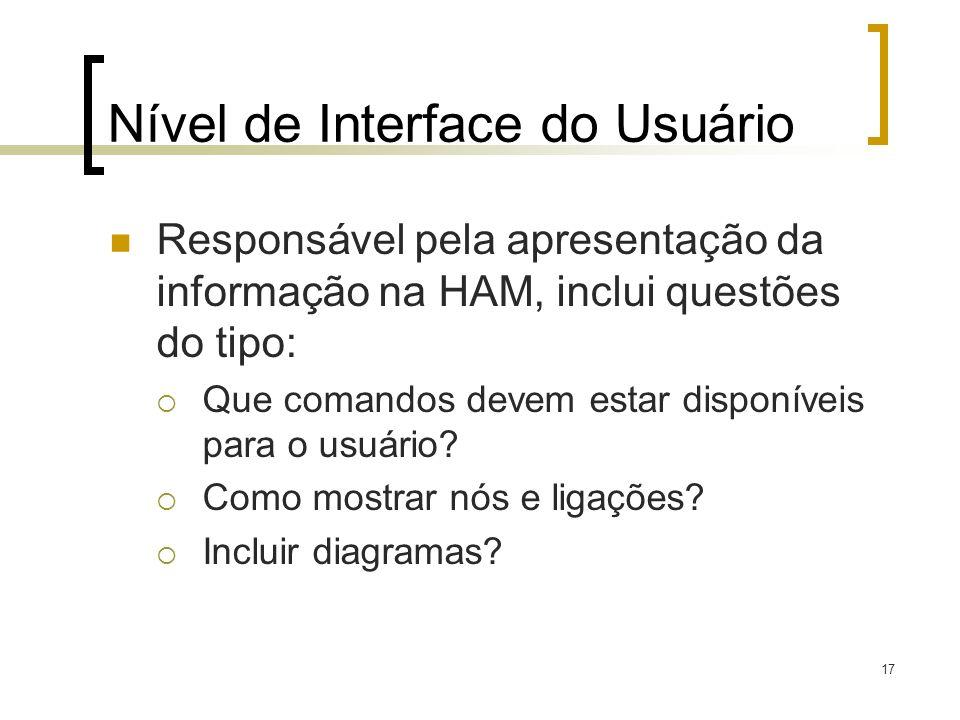 17 Nível de Interface do Usuário Responsável pela apresentação da informação na HAM, inclui questões do tipo: Que comandos devem estar disponíveis par