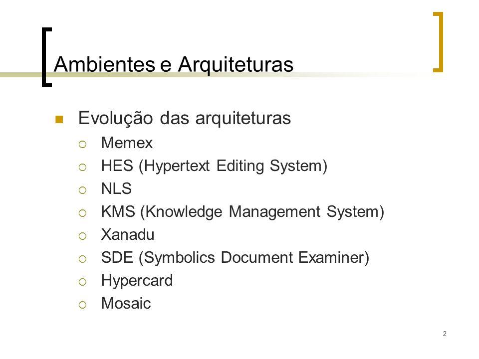 2 Ambientes e Arquiteturas Evolução das arquiteturas Memex HES (Hypertext Editing System) NLS KMS (Knowledge Management System) Xanadu SDE (Symbolics
