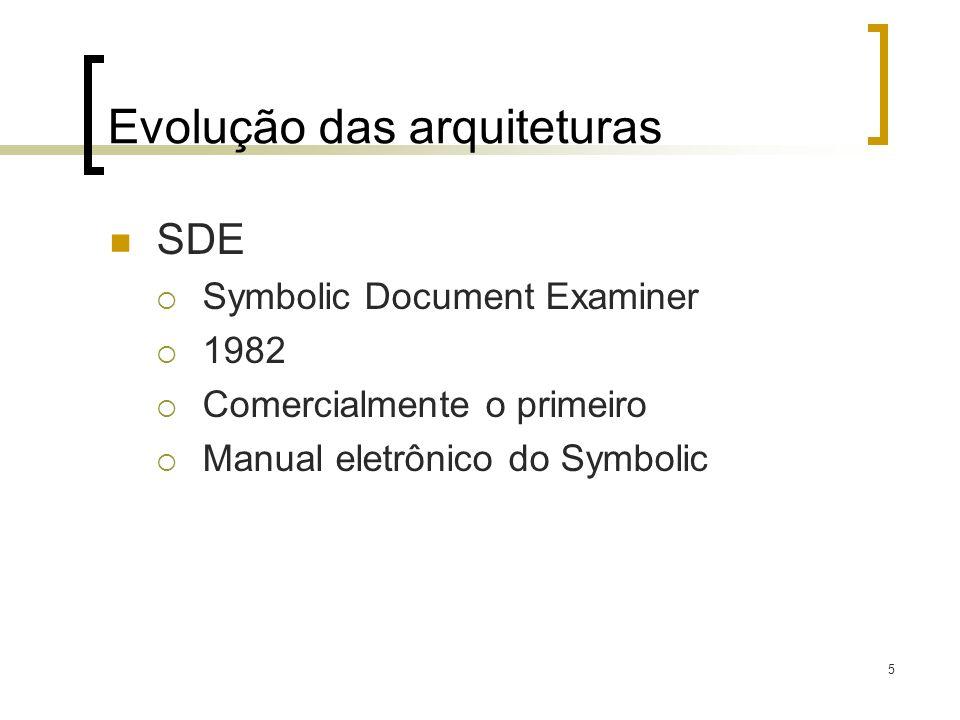 5 Evolução das arquiteturas SDE Symbolic Document Examiner 1982 Comercialmente o primeiro Manual eletrônico do Symbolic
