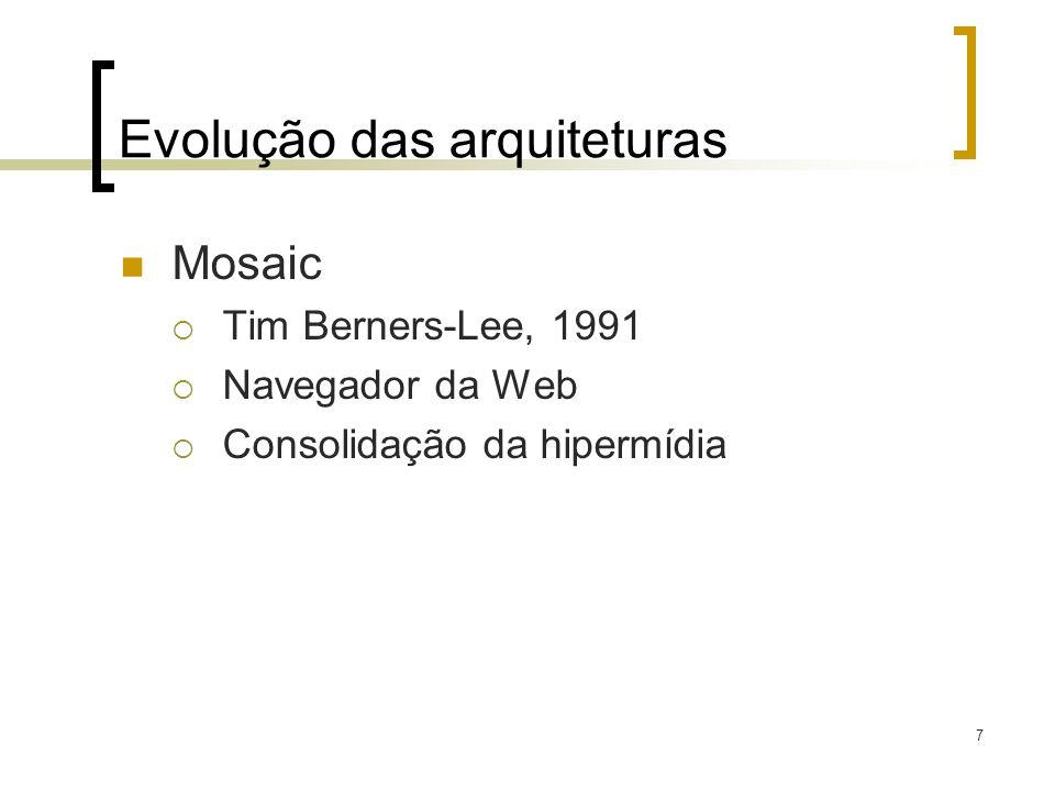 7 Evolução das arquiteturas Mosaic Tim Berners-Lee, 1991 Navegador da Web Consolidação da hipermídia