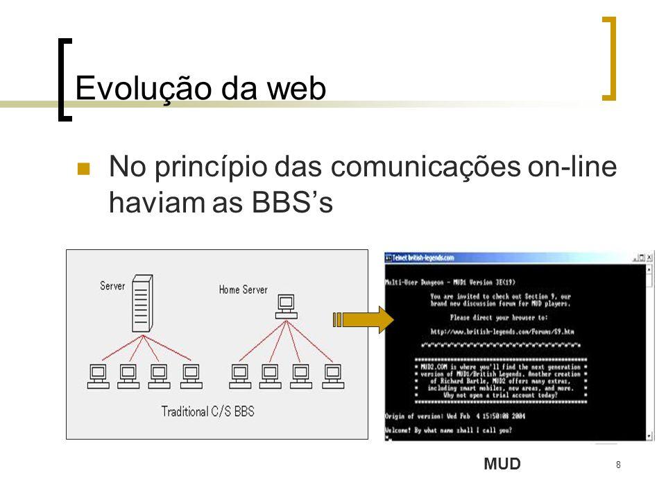 8 Evolução da web No princípio das comunicações on-line haviam as BBSs MUD