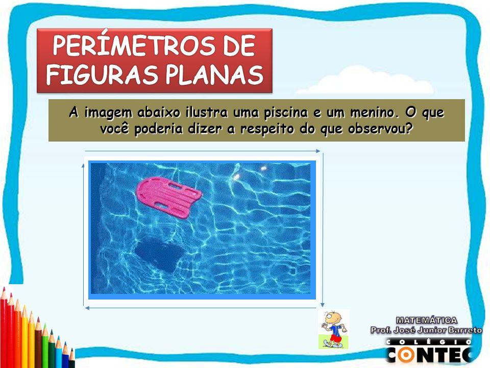 A imagem abaixo ilustra uma piscina e um menino.