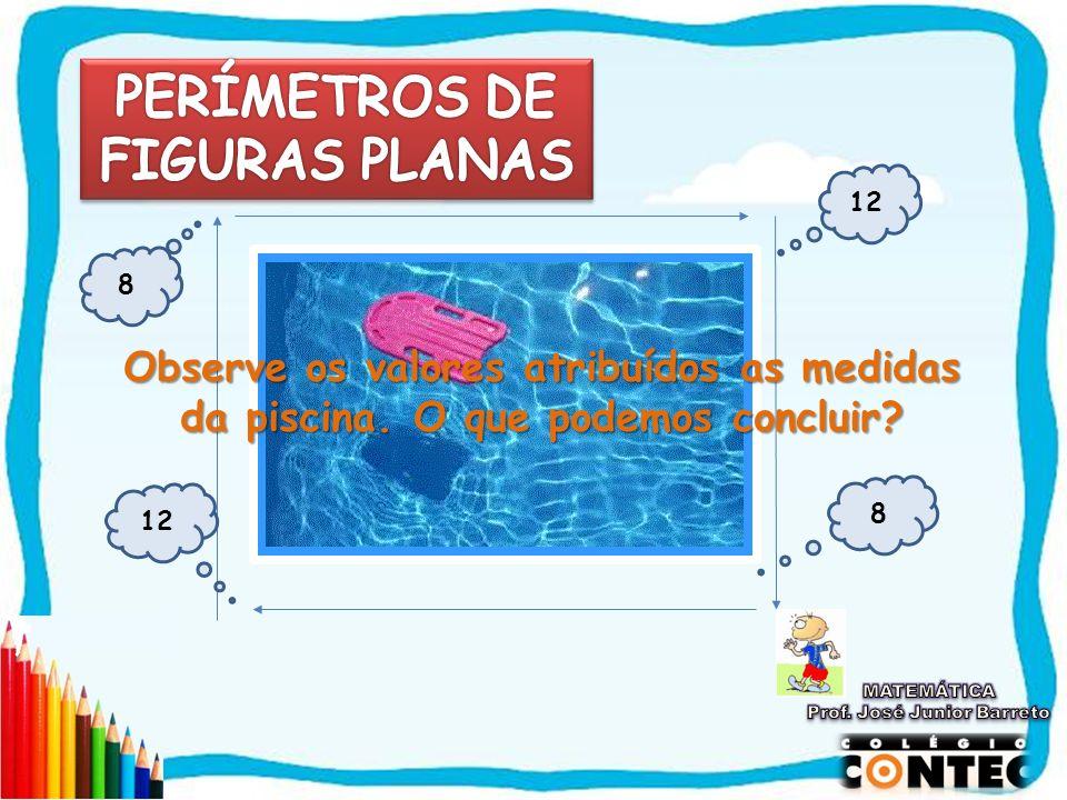 SAIR Piscina 8 12 8 Observe os valores atribuídos as medidas da piscina. O que podemos concluir?