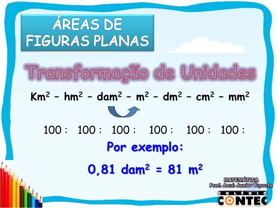 Km 2 – hm 2 – dam 2 – m 2 – dm 2 – cm 2 – mm 2 100 : 100 : 100 : 100 : 100 : 100 : Por exemplo: 0,81 dam2 = 81 m2